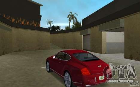 Bentley Continental GT (Final) para GTA Vice City vista traseira esquerda