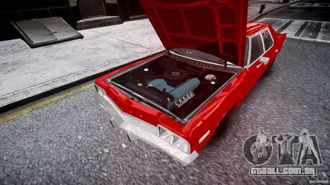 Dodge Monaco 1974 stok rims para GTA 4 vista superior