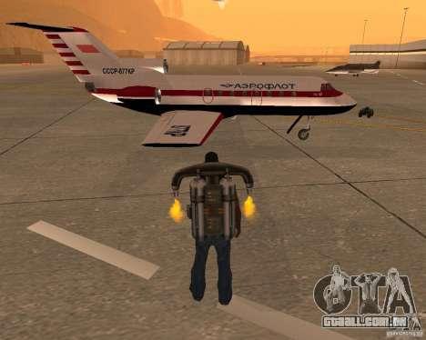 O avião Yak-40 para GTA San Andreas vista direita