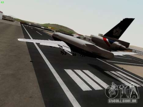 McDonell Douglas DC-10-30 British Airways para GTA San Andreas traseira esquerda vista