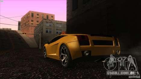 Lamborghini Gallardo SE para GTA San Andreas traseira esquerda vista