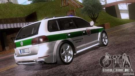 Volkswagen Touareg Policija para GTA San Andreas vista traseira