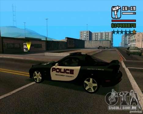 Mazda RX-7 FD3S Police para GTA San Andreas traseira esquerda vista