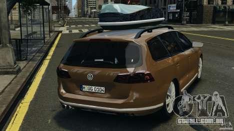 Volkswagen Passat Variant B7 para GTA 4 traseira esquerda vista