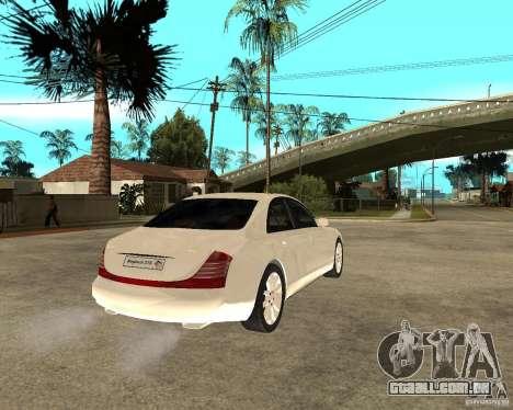 Maybach 57 S para GTA San Andreas traseira esquerda vista