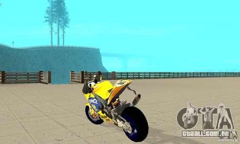 Honda Valentino Rossi Bf400 para GTA San Andreas traseira esquerda vista