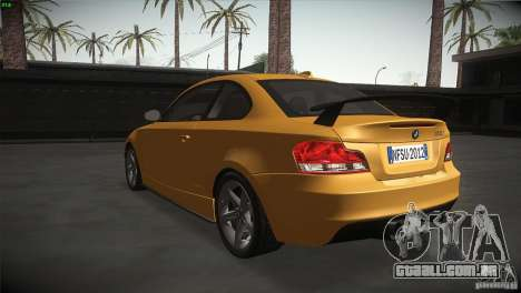 BMW 135i Coupe Road Edition para GTA San Andreas traseira esquerda vista