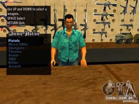 Tommy Vercetti no AMMU-NATION para GTA San Andreas por diante tela