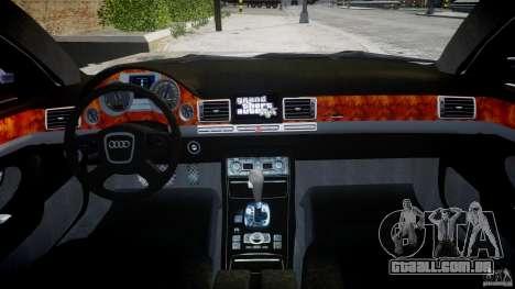 Audi S8 D3 2009 para GTA 4 vista inferior