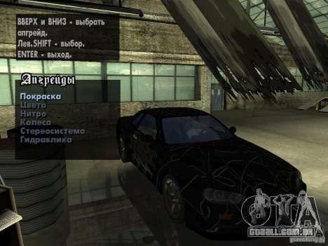 Nissan Skyline GT-R34 V-Spec para GTA San Andreas vista interior