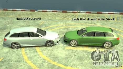 Audi RS6 Avant 2010 Stock para GTA 4 vista superior