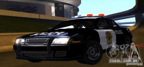 NFS Undercover Police Car para GTA San Andreas traseira esquerda vista