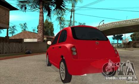 Nissan Micra para GTA San Andreas traseira esquerda vista