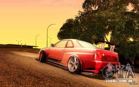 Nissan Skyline GT-R34 para GTA San Andreas esquerda vista