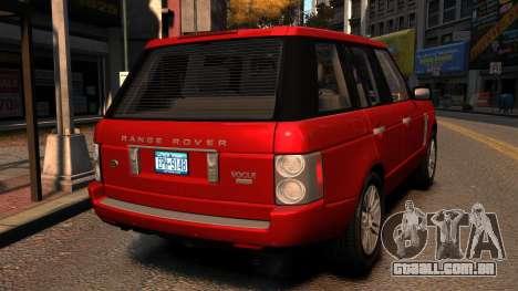 Range Rover TDV8 Vogue para GTA 4 traseira esquerda vista