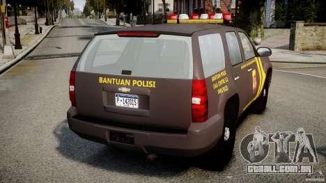 Chevrolet Tahoe Indonesia Police para GTA 4 traseira esquerda vista