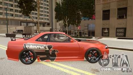 Nissan Skyline GT-R R34 Underground Style para GTA 4 vista interior