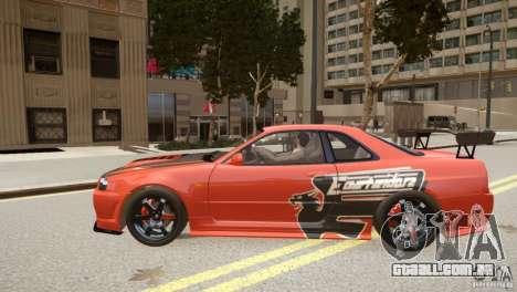Nissan Skyline GT-R R34 Underground Style para GTA 4 esquerda vista