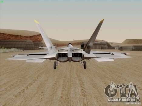 FA22 Raptor para GTA San Andreas traseira esquerda vista