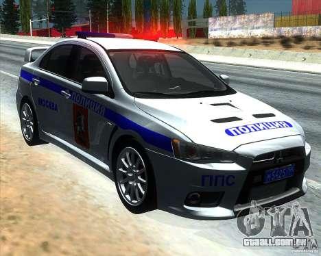 Mitsubishi Lancer Evolution X PPP polícia para GTA San Andreas
