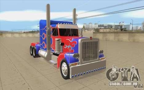 Peterbilt 379 Optimus Prime para GTA San Andreas vista traseira