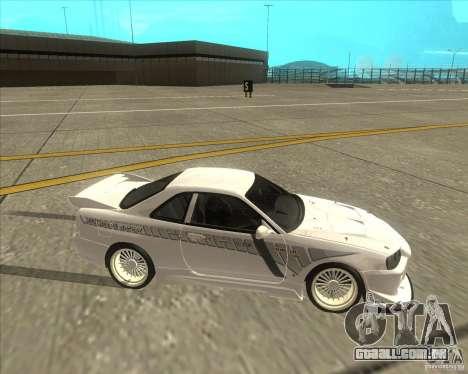 Nissan Skyline R34 Veilside street drag para GTA San Andreas vista traseira