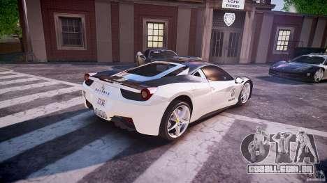 Ferrari 458 Italia - Brazilian Police [ELS] para GTA 4 vista superior