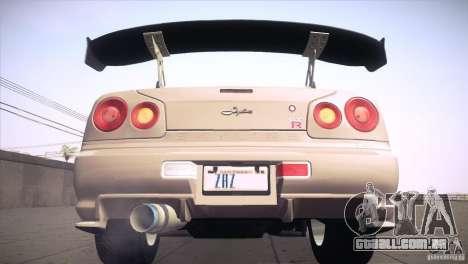 Nissan Skyline R34 para as rodas de GTA San Andreas