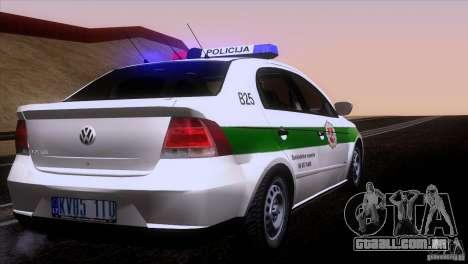 Volkswagen Voyage Policija para GTA San Andreas vista direita