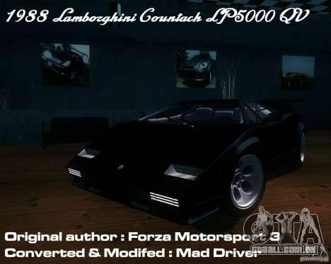 Lamborghini Countach para vista lateral GTA San Andreas