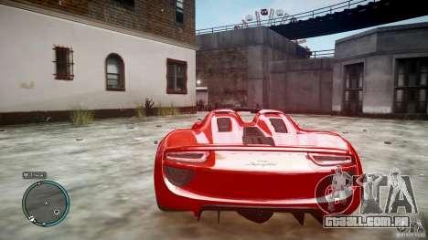 Porsche 918 Spyder Concept para GTA 4 vista de volta