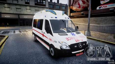 Mercedes-Benz Sprinter Iranian Ambulance [ELS] para GTA 4 vista de volta