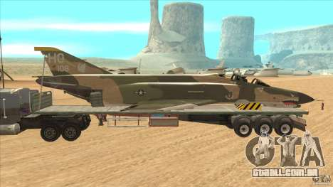 Flatbed trailer with dismantled F-4E Phantom para GTA San Andreas esquerda vista