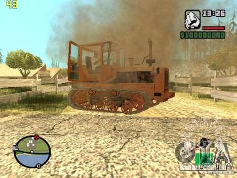 Tractor DT-75 carteiro para GTA San Andreas vista inferior