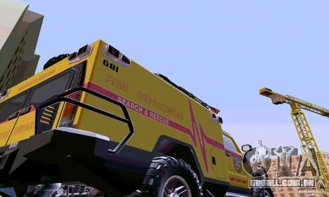 Hummer H2 Ambluance de transformadores para GTA San Andreas vista direita