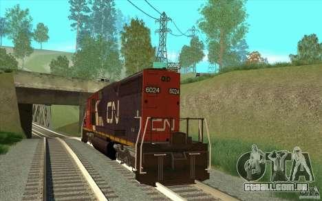 Canadian National SD40U para GTA San Andreas traseira esquerda vista