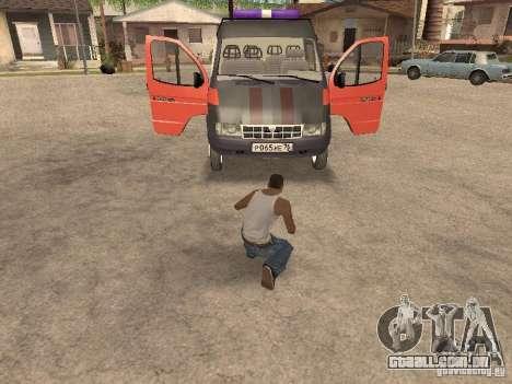 Serviço de gás gazela 2705 para GTA San Andreas vista traseira