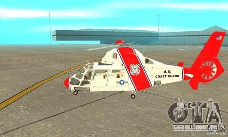 AS-365N da Guarda Costeira dos Estados Unidos para GTA San Andreas traseira esquerda vista
