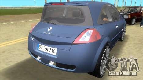 Renault Megane Sport para GTA Vice City vista traseira esquerda