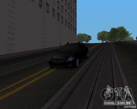 Mercedes Benz S500 w221 SE para GTA San Andreas traseira esquerda vista