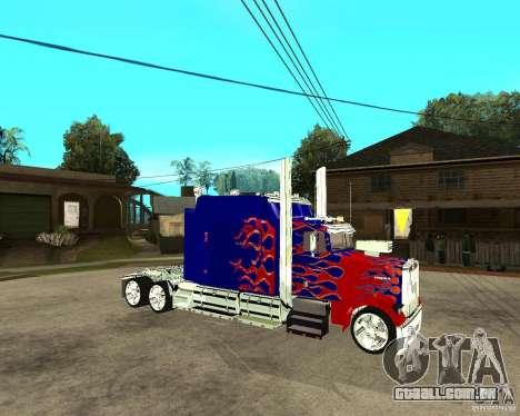 Truck Optimus Prime para GTA San Andreas vista direita