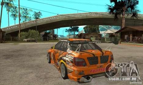 Subaru Impreza D1 WRX Yukes Team Orange para GTA San Andreas traseira esquerda vista
