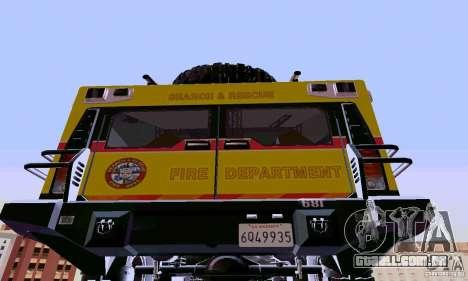 Hummer H2 Ambluance de transformadores para GTA San Andreas traseira esquerda vista