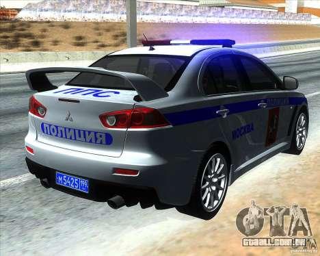 Mitsubishi Lancer Evolution X PPP polícia para GTA San Andreas traseira esquerda vista