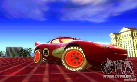 MCQUEEN from Cars para GTA San Andreas traseira esquerda vista