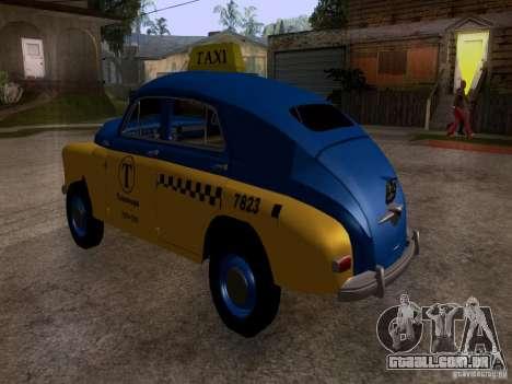GAZ M20 Pobeda táxi para GTA San Andreas esquerda vista