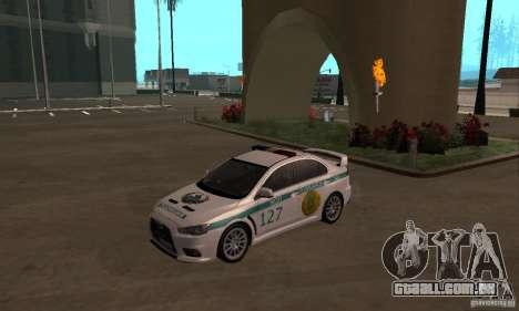 Mitsubishi Lancer Evolution X polícia do Cazaqui para GTA San Andreas