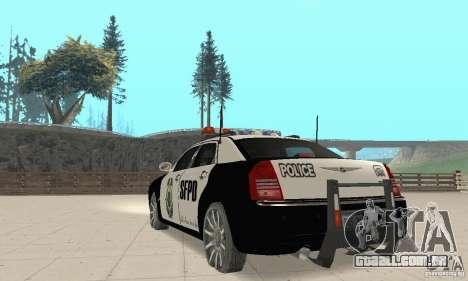 Chrysler 300C Police v2.0 para GTA San Andreas traseira esquerda vista
