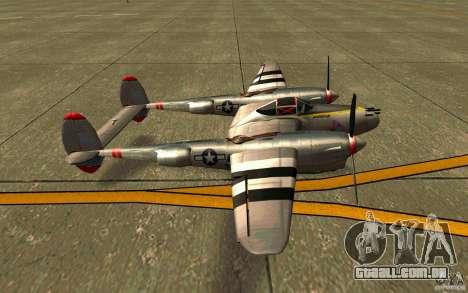 P38 Lightning para GTA San Andreas esquerda vista