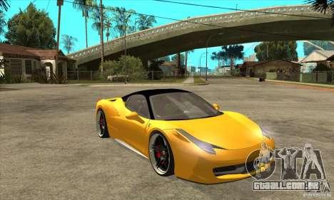 Ferrari 458 Italia custom para GTA San Andreas vista traseira